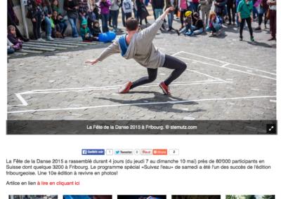 Publication d'images dans la galerie de la fête de la Danse, La Liberté online, 12.05.2015