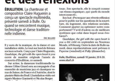 Publication d'image de Guadalupe (Céline Girard) dans La Gruyère, 08.01.2015
